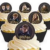 12 x Vorgeschnittene und Essbare Harry Potter Kuchen Topper (Tortenaufleger, Bedruckte Oblaten, Oblatenaufleger)